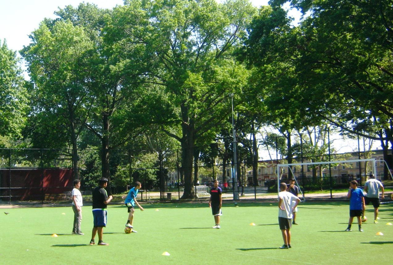 ブルックリン・サンセット公園のサッカー場。