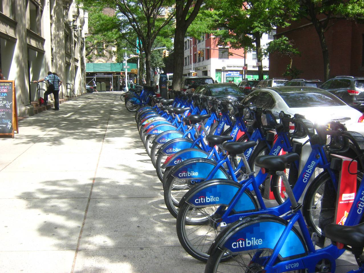 ニューヨークの貸自転車事業シティバイクの駐輪場。