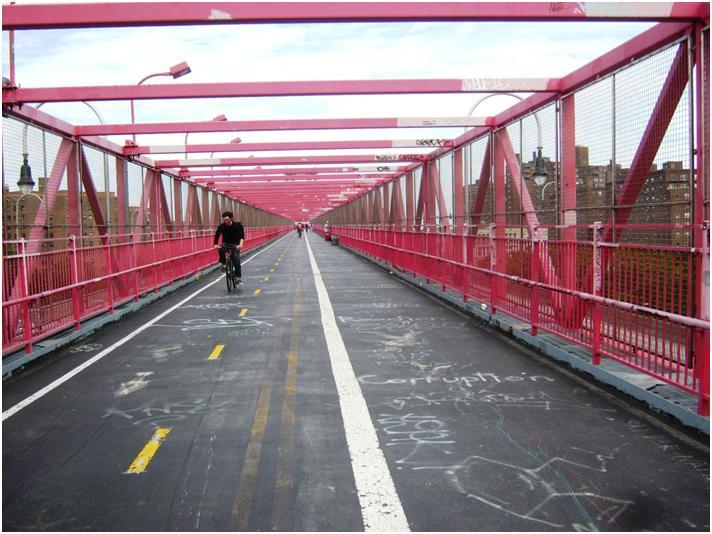 ウィリアムズバーグ橋の自転車道・歩道。