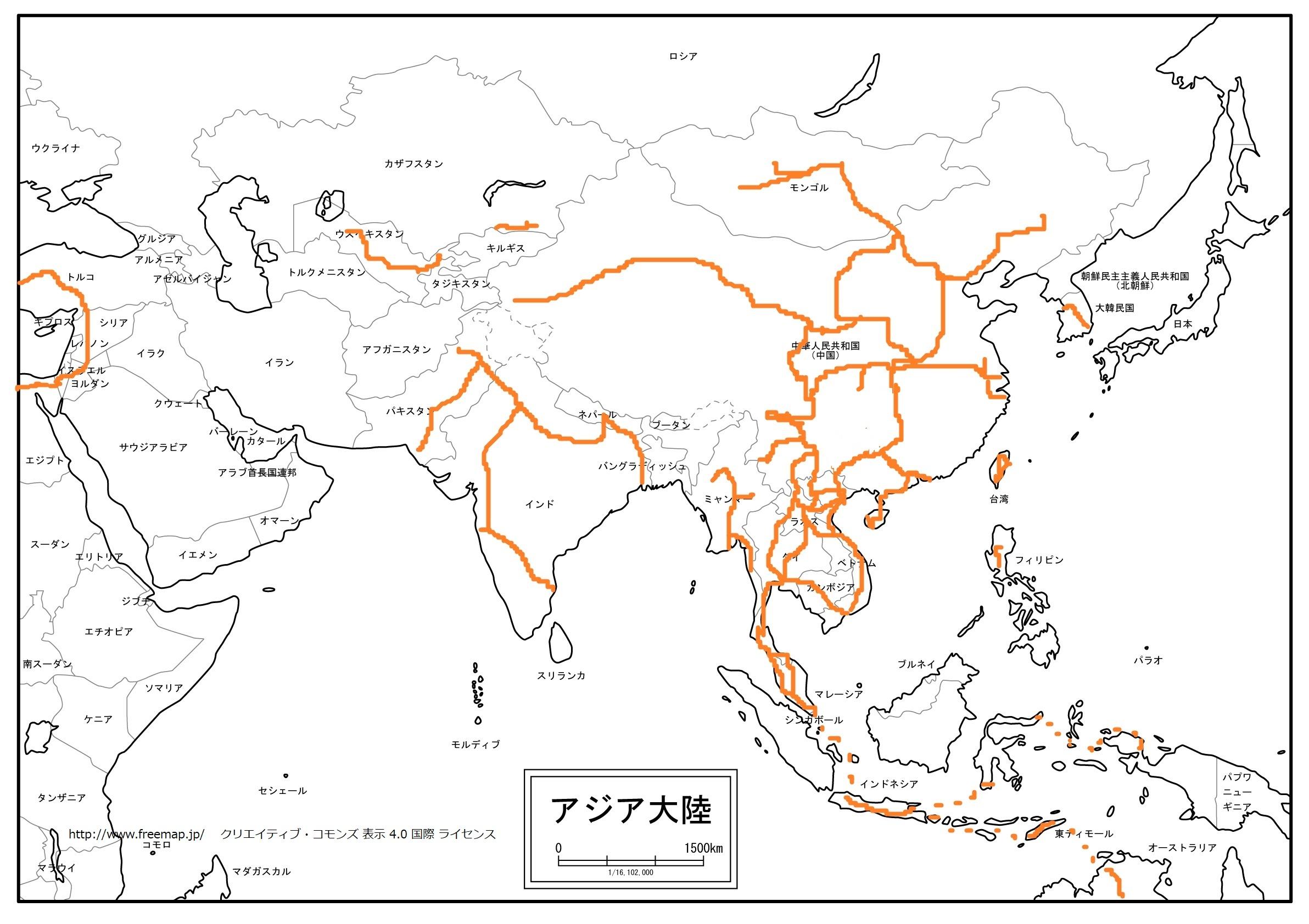 アジア:旅したルート地図。