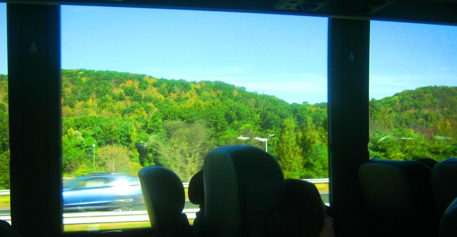 車窓から山野の風景。