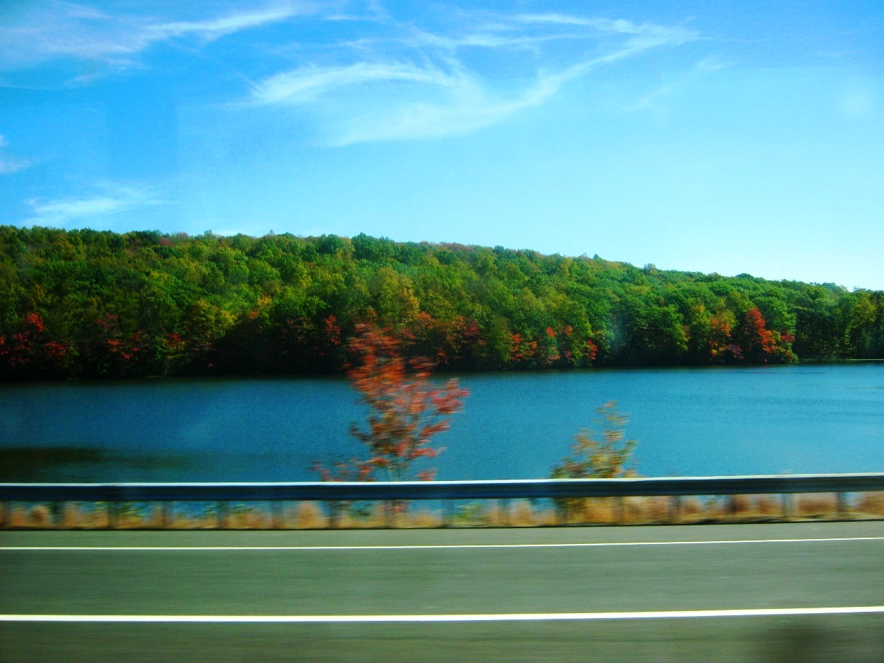 車窓から湖と山の緑と紅葉。