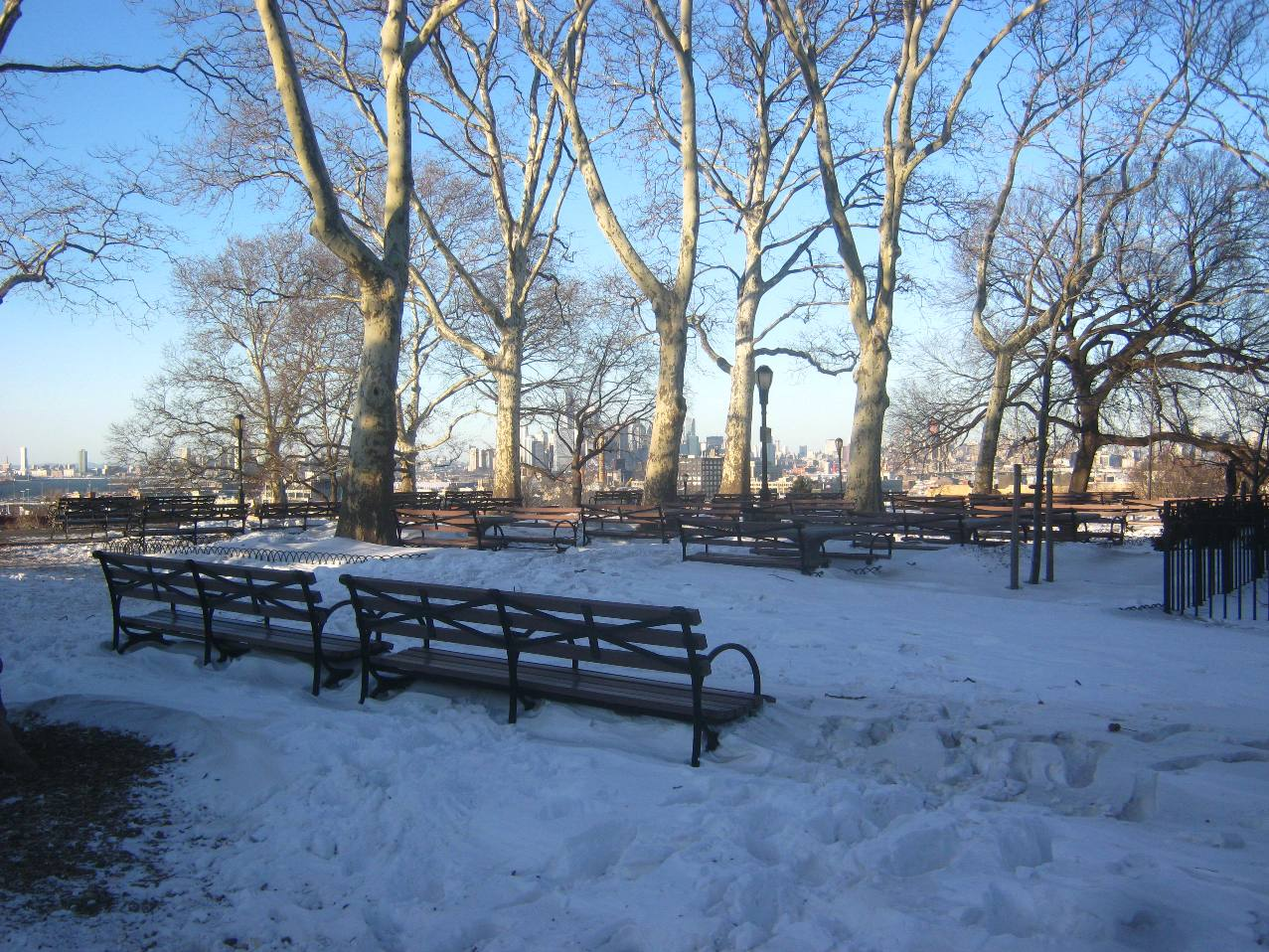 サンセット公園。木立の間からマンハッタン。