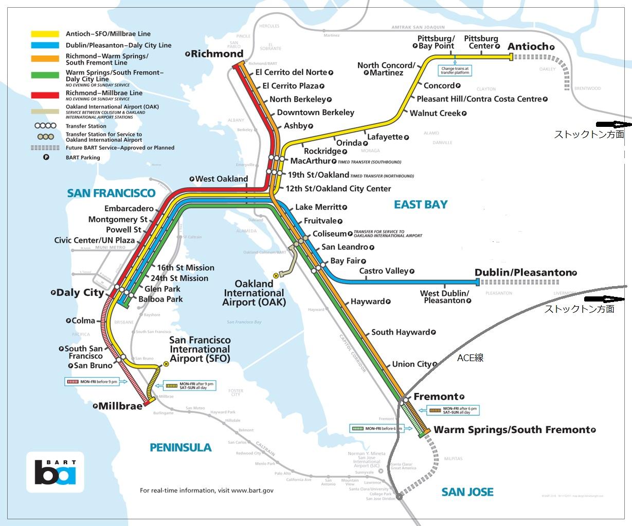 サンフランシスコ大都市圏の鉄道図